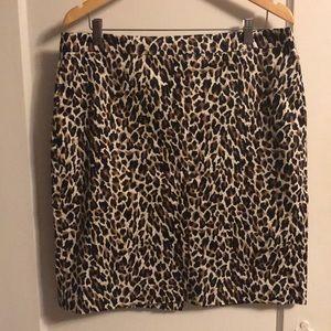 J.Crew leopard pencil skirt size 14
